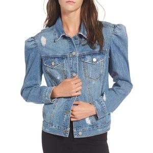 BP. Puff Sleeve Denim Jean Jacket - S Blue